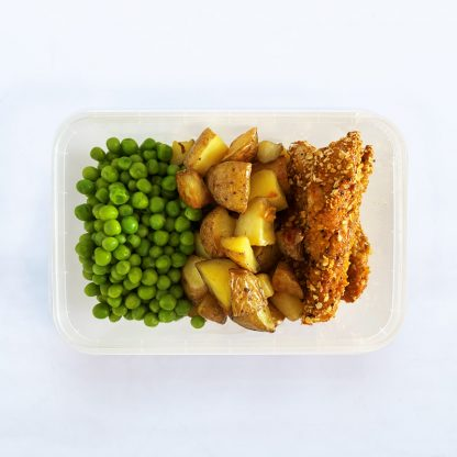Chicken strips and crispy potato chunks